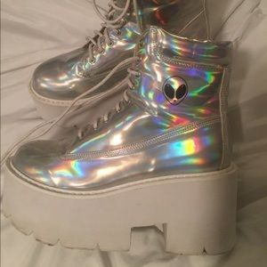 Holographic high heel shoes
